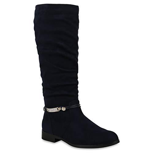 Damen Klassische Stiefel Strass Zierperlen Schuhe 146067 Blau Bernice 38 Flandell