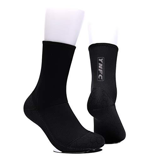 YNFC Diving Socks Neoprene Socks Beach Booties Shoes 3mm Anti-Slip Wetsuit Boots Ultra Premium Water Fin Swim Socks for Beach Swim Boarding Kiteboarding and Water Sports (Black, XL)