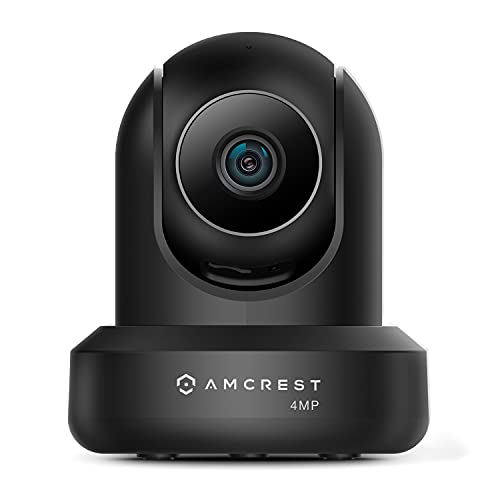 Amcrest 4MP ProHD Indoor WiFi Camera, Security IP Camera with Pan/Tilt, Two-Way Audio, Night Vision, Remote Viewing, 2.4ghz, 4-Megapixel @30FPS, Wide 90° FOV, IP4M-1041B (Black)