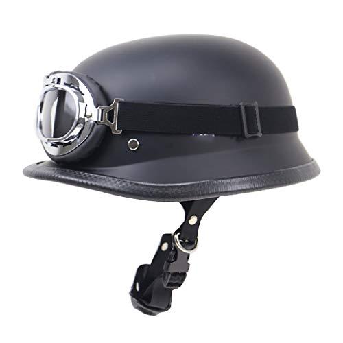 ハーフバイクヘルメットバイクオープンフェイスヘルメットヴィンテージバイカークルーザースクーターツーリングゴーグル付き、DOT承認済み、成人男性