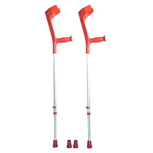ORTONES | 2er Pack verstellbare Krücken aus Aluminium mit Ersatzkappen | Rot