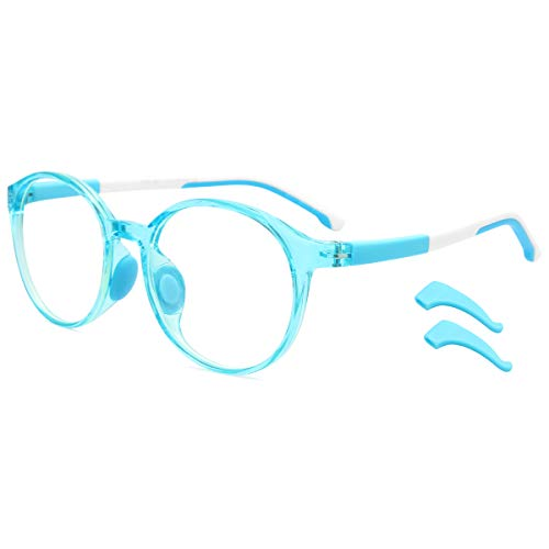 Livho Kids Blue Light Blocking Glasses, Computer Gaming TV Glasses for Boys Girls Age 3-15 Anti Glare & Eyestrain & Blu-ray Filter (Blue)