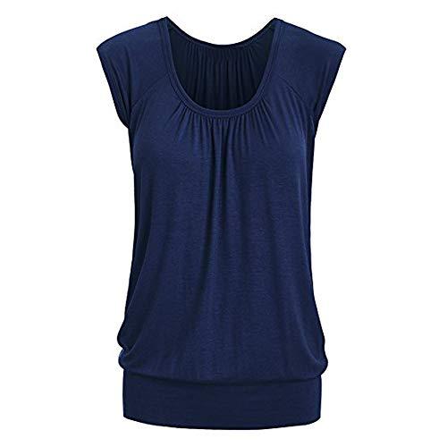 IMJONO Frauen Tops 2019n Frauen-Sommer-beiläufiger runder Ansatz-festes kurzes Hülsen-T-Shirt Spitzenbluse(Small,Blau)