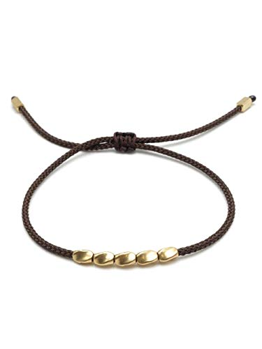 BENAVA Tibet Armband Stoffarmband geflochten mit Kupfer Perlen Dunkelbraun | Minimal Freundschaftsarmband | Handmade Buddhistischer Boho Schmuck | Ideal als Geschenk für Freundin Paare oder Pärchen