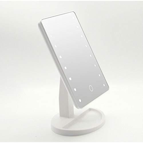 Espejo de maquillaje sensible al tacto, espejo de mesa de lámpara LED, espejo de maquillaje ligero de 16 táctiles, espejo giratorio de mesa 360.