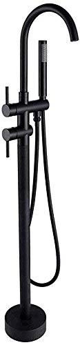 AGWa Schwarz bodenstehende badewanne wasserhahn freistehende badewanne duschwannenfüller messing handbrause klauenfuß mischbatterien g1 / 2 \'\' (4kg), schwarz,Schwarz