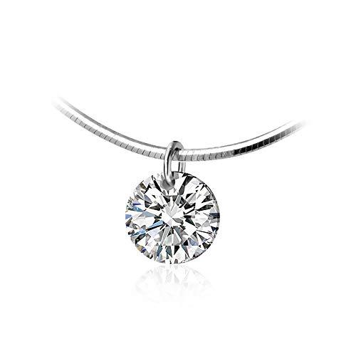 925 plata esterlina deslumbrante Aaa Zircon collar colgante redondo para mujeres moda gargantilla collar joyería fina