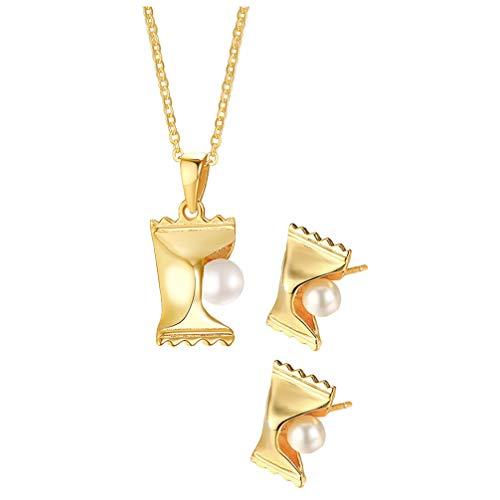 Holibanna Conjunto de Pendientes Y Collar de Perlas Colgante de Caramelo Pendientes de Perno Joyería para Mujer