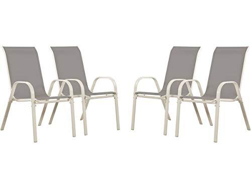 Juego de 4 sillas jardín Textileno Cordoba - Phoenix - Gris claro