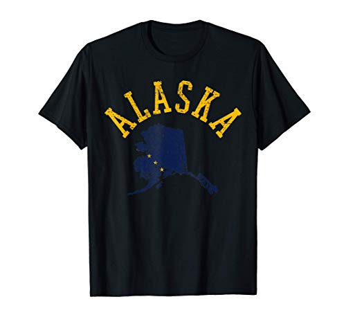 Alaska Karte Fahne Flagge Geschenk Vintage Retro T-Shirt