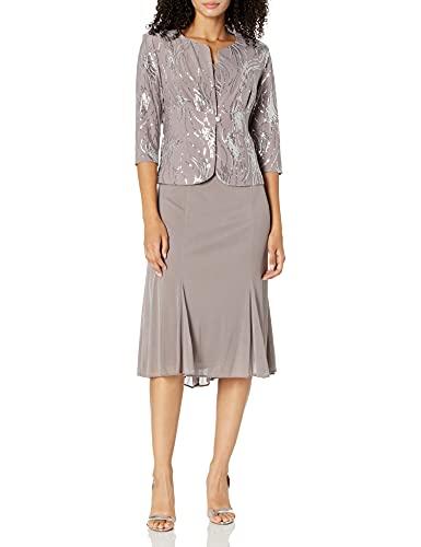 Alex Evenings Women's Tea Length Mock Jacket Dress with Button Front Regular Sizes, Pewter/Frost, 8 Petite