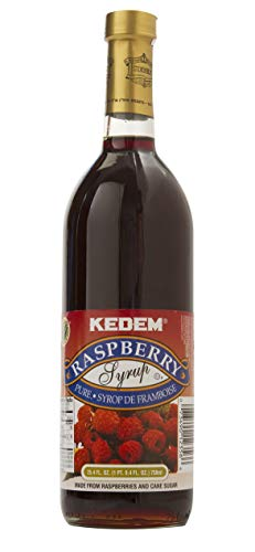 Kedem Pure Raspberry Syrup 25.4oz, Zero Fat, Perfect for Drinks, Desserts, and More!