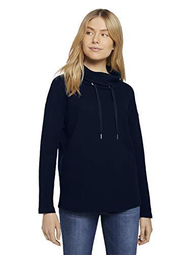 TOM TAILOR Damen 1024522 Print Hoodie Sweatshirt, Sky Captain Blue, M