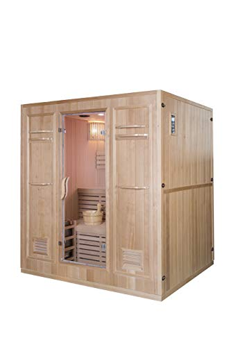 """Canadian Hemlock Wood Traditional Swedish 69"""" 4 Person Indoor Twin Bench Sauna Spa, with 8KW Wet or Dry Heater, Rocks, 2 Shelves and Towel Racks"""
