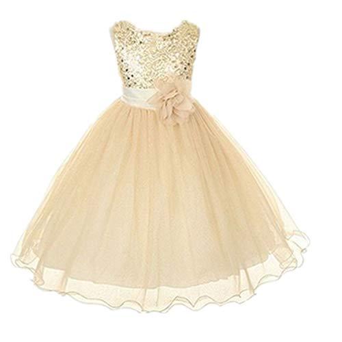 Live it estilo it ni̱a con lentejuelas vestido flor princesa sin mangas formal boda fiesta dama Dorado dorado 2-3 A̱os
