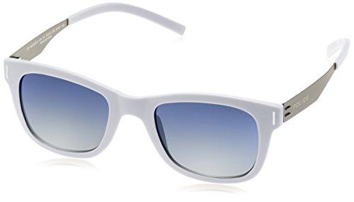 Police Gafas de sol SPL170 Wager 2 Wayfarer polarizadas Gafas de sol 50 mm, color gris claro semi mate