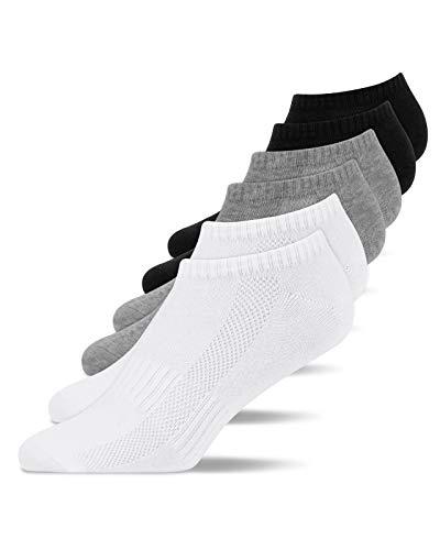 Snocks Herren & Damen Sneaker Socken (6x Paar) Lange Haltbarkeit Dank Bester Qualität 2x Schwarz + 2x Weiß + 2x Grau, 43 - 46