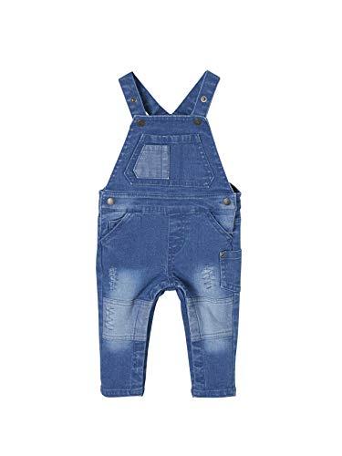 Vertbaudet Jeans-Latzhose für Baby Jungen, Used Blue Stone 92