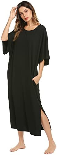 Ekouaer Nightgown Womens Round Neck V Neck Loungewear Oversized Pajama Loose Pockets Long Sleep product image