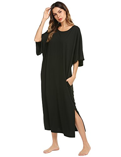 Ekouaer Womens V-Neck Cotton Nightgown Oversized Loose Fit Long Sleep Dress, A black, Small