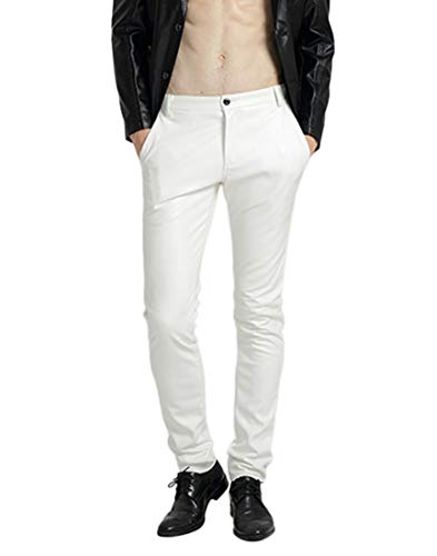 Idopy Men`s Pu Motorcycle Party Holiday Performance Faux Leather Pants Jeans White 32