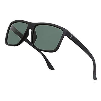 NIEEPA Men's Driving Sports Polarized Sunglasses Square Plastic Frame Glasses (Dark Green Lens/Black Frame)