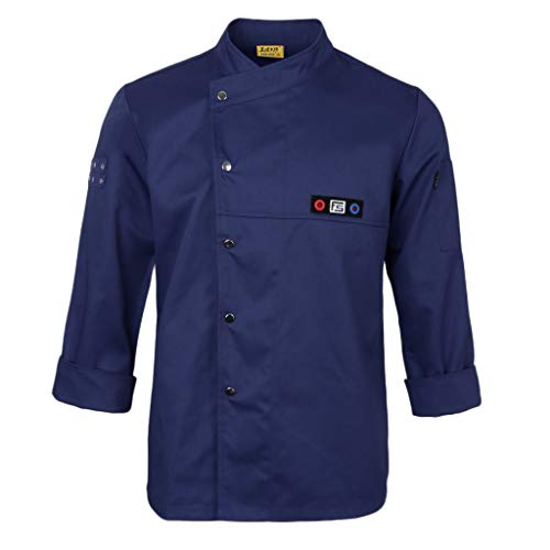 T TOOYFUL Kochjacke Langarm Bäckerjacke Jacke Kochkleidung Koch Gastronomie Berufsbekleidung Gastro Oberteil mit Druckknöpfen - Blau, 2XL