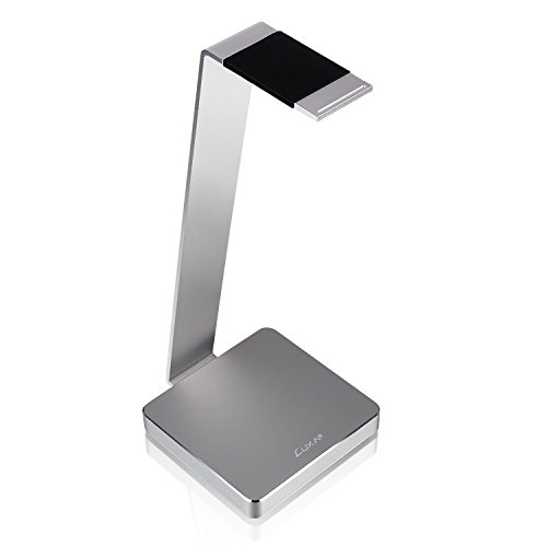 LUXA2 E-One Silver Solid-Metal Aluminum Universal Gaming Headphone Stand/Hanger/Holder for Beats, Senheiser, Sony, Bose, Philips, Audio-Technica, Plantronics, Shure, Jabra, JVC, JBL, AKG, DJ, Gaming Headsets Display HO-HDP-ALE1SI-00