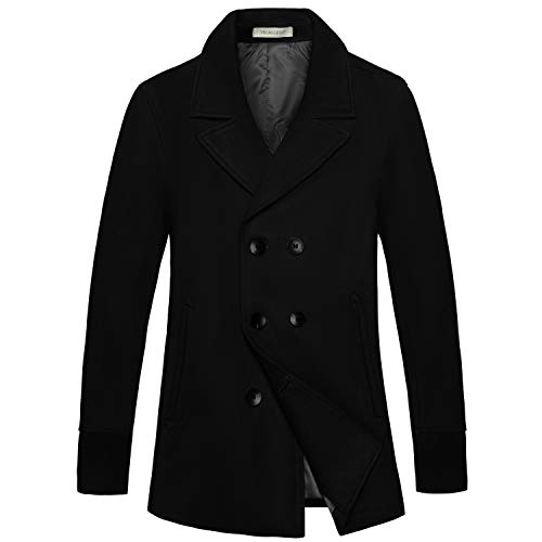 VICALLED Men Winter Double Breasted Belted Pea Coat Outdoor Woolen Warm Jacket