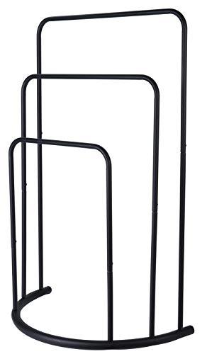 Freestanding Towel Rail, Bath Towel Holder, Small Clothes Butler Valet Stand (49 x 23 x 75 cm, Three Rails, Black)