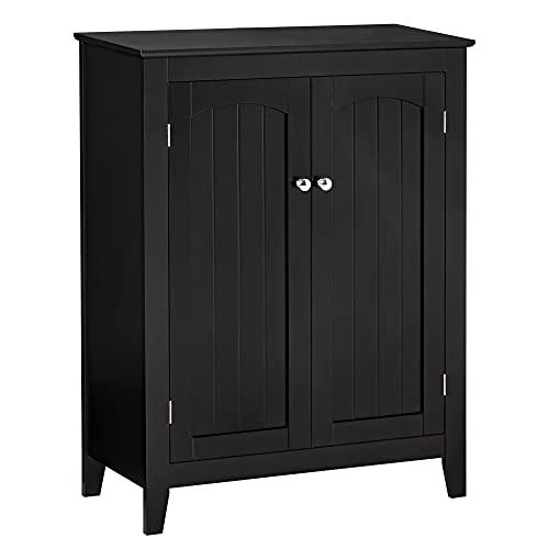 HOMCOM Aparador de Cocina Mueble Auxiliar de Almacenaje con 2 Puertas y Estantes Ajustables para Salón Baño Entrada 70x30x90 cm Negro