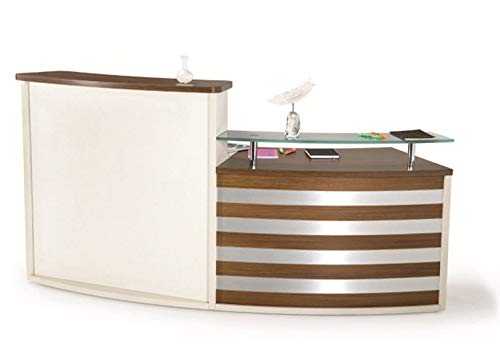 UGOS Modern Floating Glass Top Reception Desk w/Transaction Counter & Storage Drawer | Walnut Laminate Desktop | Multifunctional Standing Table for Home, Office, Salon, Spas, and Lobby