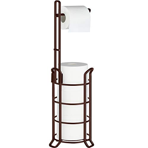 TomCare Toilet Paper Holder Toilet Paper Stand and Dispenser for 3 Spare Rolls Metal Wire Free-Standing Toilet Tissue Paper Roll Storage Shelf Bathroom Accessories Storage Organizer Bronze