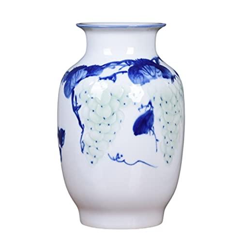 rzoizwko Jarrón de cerámica Azul y Blanco con Pintura de Color de Loto Chino, decoración de Sala de Estar jarrón Decorado a Mano esmaltado