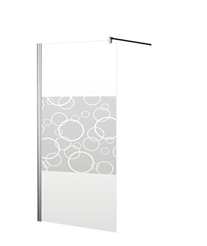 Schulte 4060991014253 Paroi de douche à l'italienne, Walk In, sans silicone, verre sécurit décor cercles, profilé aspect chromé, 90 x 190 cm