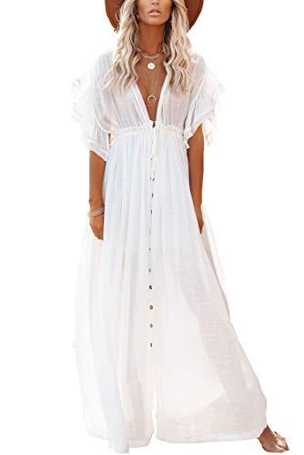 LikeJump Donna Bohémien Cardigan Vestito da Spiaggia Maxi Abito Copricostume Kaftan Bikini Cover ups