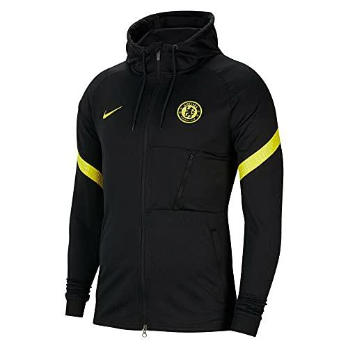NIKE 2021-2022 Chelsea Chaqueta de pista con capucha (Negro)