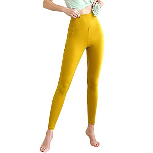 GvvcH Leggings Deportivos de Cintura Alta Mujeres Pantalones de Yoga Sin Costuras Pantalones de Entrenamiento Elasticidad Delgada,Yellow,L