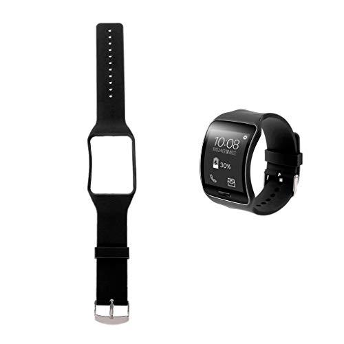 Jiamins Correa de silicona de repuesto para reloj inteligente Samsung Galaxy Gear S SM-R750 (negro)