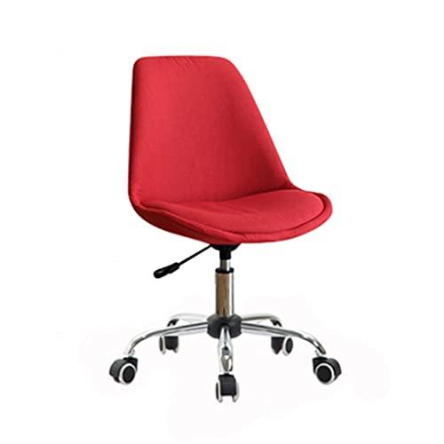 Silla de oficina ergonómica sin brazos para computadora y escritorio sin brazos, silla giratoria de lino para el hogar, silla simple (color rojo)