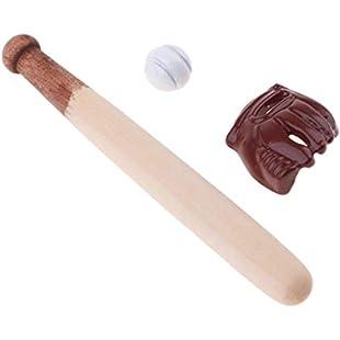 fenteer Handmade Miniature 3pcs Baseball Bat & Mitt Set for 1/12 Dolls House Fairy Garden Accessories Room Items