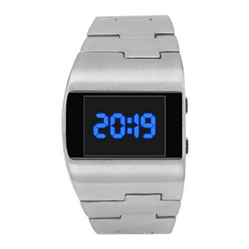 TWISFER Unisex LED Zifferblatt Uhren Coole Mode Schöne Breite Zifferblatt Armbanduhr Herren Damen Stahlband Monochrome Digitale Elektronische Uhr