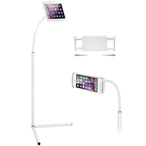 Tablet Floor Stand, Gooseneck Long Arm Cell Phone Holder Mount for 7-13inch Tablet iPad, Including ipad Pro/Mini/Air,for Samsung Galaxy Tab,Kindle White