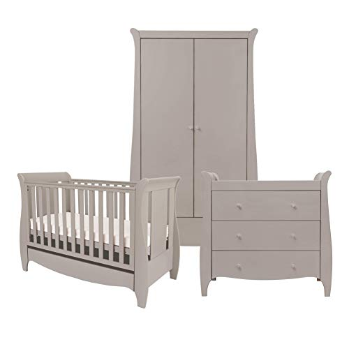 Tutti Bambini Roma Nursery Furniture Set | Space Saver Baby Cot Bed, Sleigh Design Chest of Drawers and Wardrobe | Solid Wood Furniture (Truffle Grey) Three Piece (Space Saver)