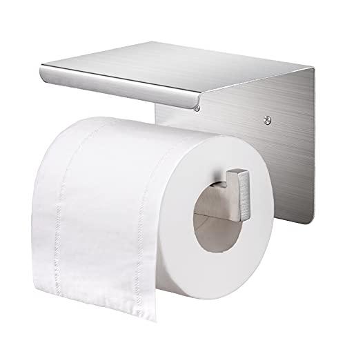 Toilettenpapierhalter, Lavvio Toilettenpapierhalter ohne bohren, Klorollenhalter Edelstahl mit Ablage, Klopapierhalter Selbstklebend oder Wandmontage für Badezimmer Toilette Küche, Rostfrei, Silber
