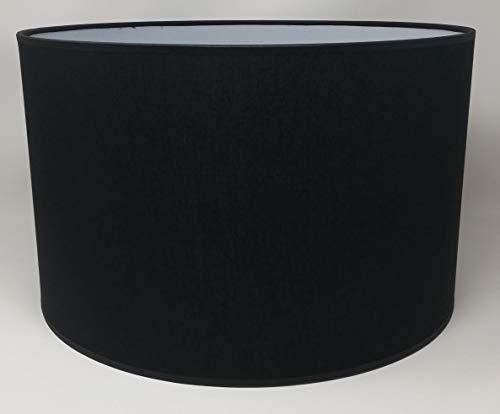 Zylinder Lampenschirm Baumwolle Stoff handgefertigt für Deckenleuchte, Tischleuchte, Stehlampe (Schwarz, 25 cm Durchmesser 20 cm Höhe)