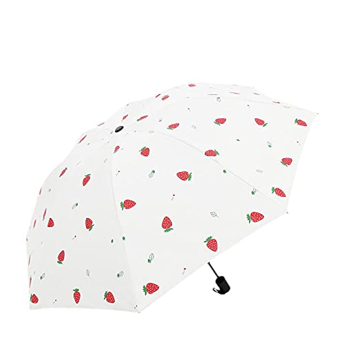 8 hueso de fresa patrón barrera lluvia plegable paraguas sol protección sol...