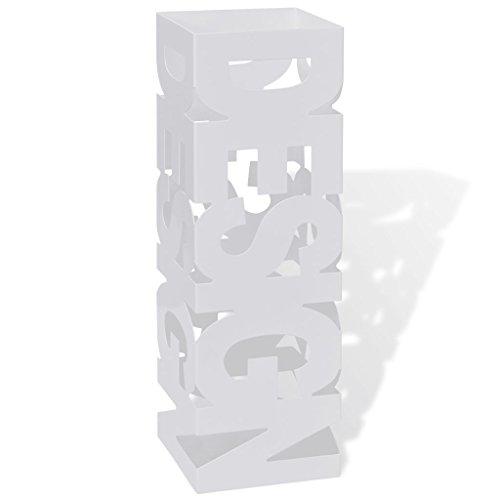 mewmewcat Schirmhalter Schirmständer Gehstock Regenschirmständer Stahl Metallständer Quadratisch 15,5 x 15,5 x 48,5 cm Weiß
