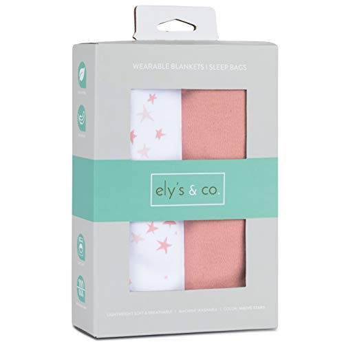 Ely's & Co. Baby Wearable Blanket│Sleep Bag 2-Pack Set - 100% Interlock Knit Cotton for Baby Girl from 6-12 Months (Dusty Rose Stars & Solid Dusty Rose)