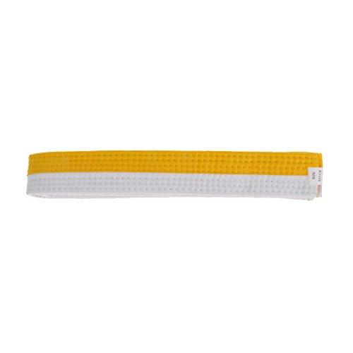 Gazechimp Cinturón de Taekwondo Karate Judo Comodo Durable Correa Fuerte para Examen de Competencia de Algodón Deportes - Blanco + amarillo, 220cm